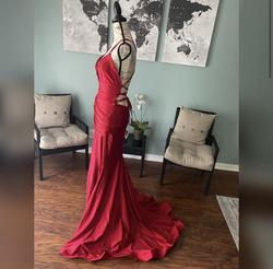 Jessica Angel Red Size 4 Backless Train Wedding Guest Mermaid Dress on Queenly