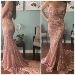 Portia & Scarlett Pink Size 0 Jewelled Sequin Backless Wedding Guest Train Dress on Queenly