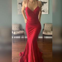 Jessica Angel Red Size 6 Corset Backless Train Wedding Guest Mermaid Dress on Queenly