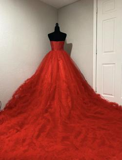 Custom Red Size 4 Strapless Ruffles Pageant Ball gown on Queenly
