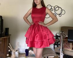 Ashley Lauren Red Size 4 Pageant Boat Neck Ruffles Cocktail Dress on Queenly