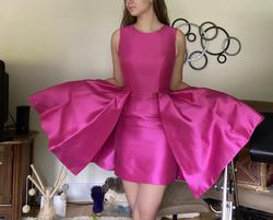 Ashley Lauren Hot Pink Size 4 Mini Homecoming Boat Neck Cocktail Dress on Queenly
