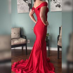 Jessica Angel Red Size 4 Pageant Train Mermaid Dress on Queenly