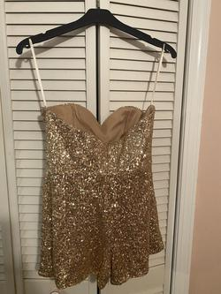 Gold Size 8 Jumpsuit Dress on Queenly