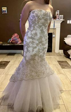 Tiffany Designs White Size 14 Pageant Wedding Mermaid Dress on Queenly