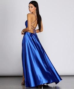 Windsor Blue Size 2 Sorority Formal Side Slit Ball gown on Queenly