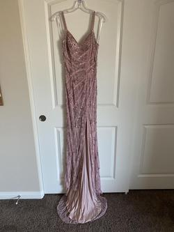 Sherri Hill Pink Size 0 Fitted V Neck Fully-beaded Side slit Dress on Queenly
