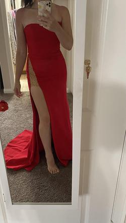Sherri Hill Red Size 4 Strapless Jersey Prom Side slit Dress on Queenly