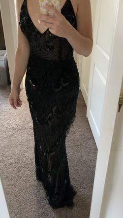ASHLEYlauren Black Size 4 V Neck Pageant Side slit Dress on Queenly