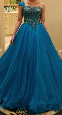 Sherri Hill Custom Blue Size 2 Turquoise Beaded Top Ball gown on Queenly