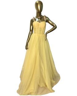 Tarik Ediz Yellow Size 10 Spaghetti Strap Pageant Ball gown on Queenly