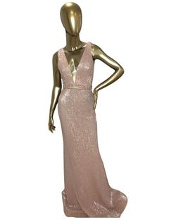 Jovani Pink Size 4 Fitted V Neck Straight Dress on Queenly
