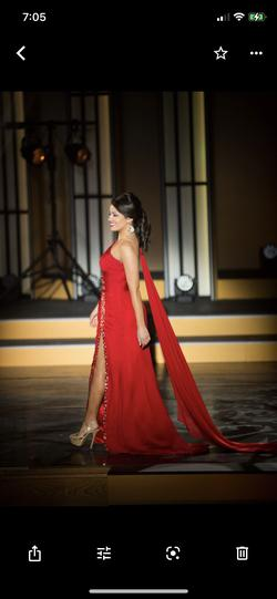 Shawn Yearick Red Size 4 Side slit Dress on Queenly