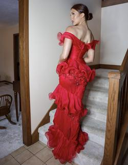 Jovani Red Size 4 Pageant Ruffles Straight Dress on Queenly