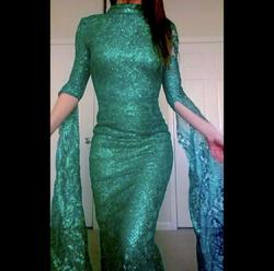 Portia & Scarlett Green Size 0 Long Sleeve Wedding Guest Pageant Mermaid Dress on Queenly