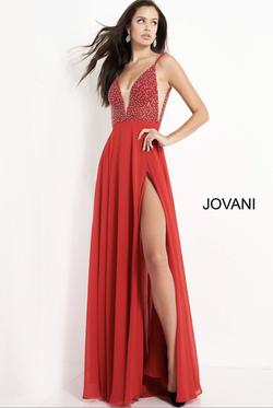 Jovani Red Size 6 Beaded Top Side slit Dress on Queenly
