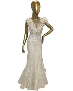 Mac Duggal White Size 6 Embroidery Wedding Mermaid Dress on Queenly