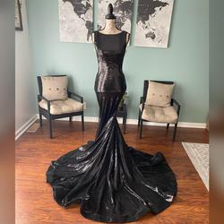Jovani Black Size 2 V Neck Train Pageant Mermaid Dress on Queenly
