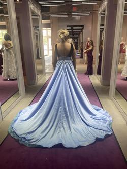 Rachel Allan Blue Size 10 Pageant Velvet Train Dress on Queenly