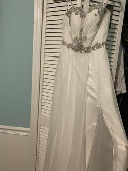 Mac Duggal White Size 8 Wedding Side Slit Straight Dress on Queenly