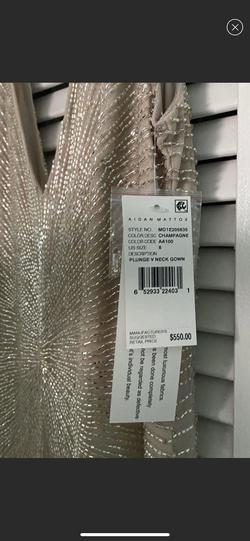 Aidan Mattox Gold Size 8 Jewelled Prom Sequin Straight Dress on Queenly