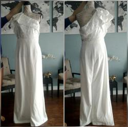 Adrianna Papell White Size 10 A-line Jumpsuit Dress on Queenly