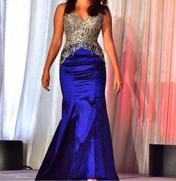 Mori Lee Royal Blue Size 4 Flare Mermaid Dress on Queenly