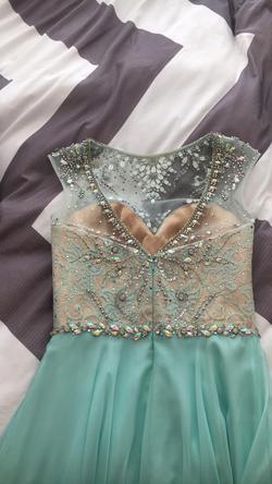Mac Duggal Blue Size 4 Side Slit Boat Neck A-line Dress on Queenly