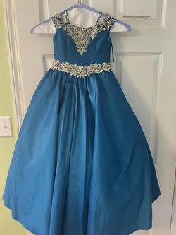 Little Rosie Pageant Blue Size 0 Teal Ball gown on Queenly