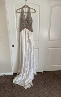Mac Duggal Pageant Multicolor Size 6 Ivory Train Halter Side slit Dress on Queenly