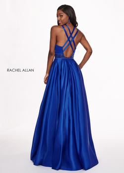 Style 6464 Rachel Allan Royal Blue Size 2 Halter A-line Dress on Queenly