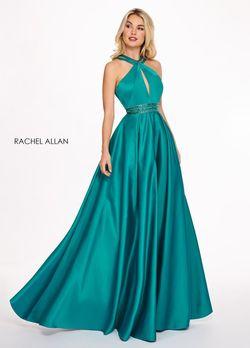 Style 6464 Rachel Allan Green Size 16 Pockets Prom Silk A-line Dress on Queenly