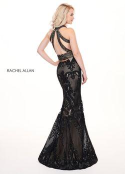 Style 6462 Rachel Allan Black Size 4 Lace Mermaid Dress on Queenly
