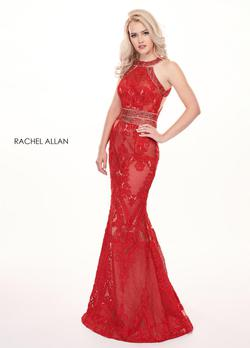 Style 6462 Rachel Allan Red Size 10 Mermaid Dress on Queenly