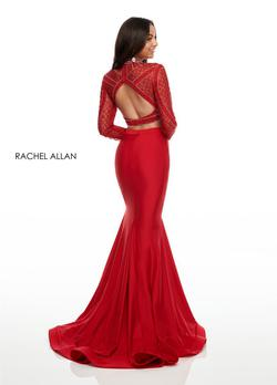 Style 7128 Rachel Allan Red Size 6 Long Sleeve Pageant Sequin Mermaid Dress on Queenly