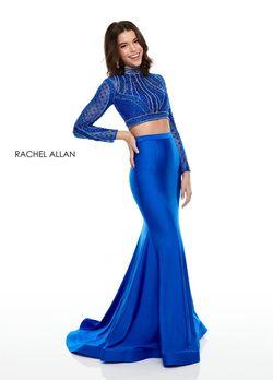 Style 7128 Rachel Allan Royal Blue Size 10 Sequin Jersey Mermaid Dress on Queenly