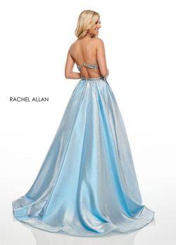 Style 7002 Rachel Allan Blue Size 6 Nude A-line Dress on Queenly