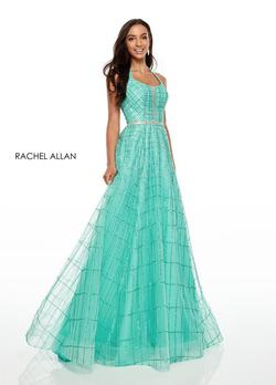 Style 7082 Rachel Allan Green Size 6 Prom Turquoise A-line Dress on Queenly