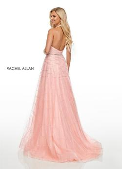 Style 7082 Rachel Allan Pink Size 2 Tulle Prom Halter A-line Dress on Queenly
