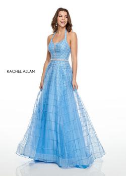 Style 7082 Rachel Allan Light Blue Size 16 Halter A-line Dress on Queenly