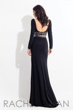 Style 6137 Rachel Allan Black Size 10 Straight Long Sleeve Wedding Guest Side slit Dress on Queenly