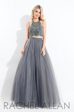 Style 6120 Rachel Allan Silver Size 12 Embroidery Pageant Spaghetti Strap Ball gown on Queenly