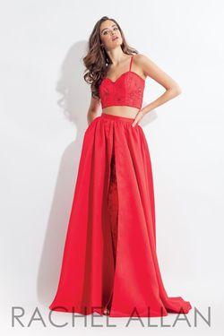 Style 6104 Rachel Allan Red Size 10 Silk Jumpsuit Dress on Queenly