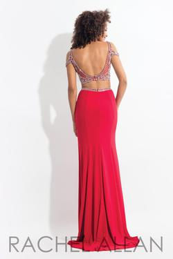 Style 6058 Rachel Allan Red Size 4 Jewelled Embroidery Pageant Backless Side slit Dress on Queenly