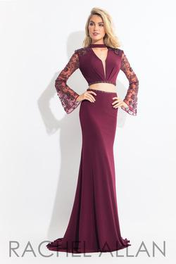 Style 6053 Rachel Allan Red Size 8 Pageant Backless Sheer Burgundy Mermaid Dress on Queenly