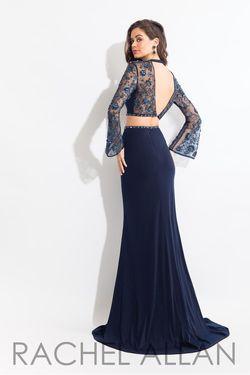 Style 6053 Rachel Allan Blue Size 0 Sheer Bell Sleeves Mermaid Dress on Queenly