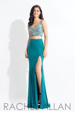 Style 6100 Rachel Allan Green Size 14 Pageant Jersey Side slit Dress on Queenly