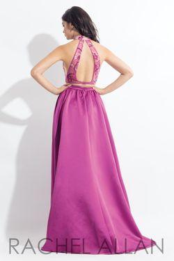 Style 6014 Rachel Allan Pink Size 0 Halter Cut Out Silk Side slit Dress on Queenly