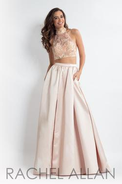 Style 6014 Rachel Allan Gold Size 12 Pageant Cut Out Silk Side slit Dress on Queenly