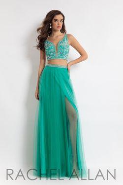 Style 6118 Rachel Allan Green Size 12 Pageant Mint Cut Out Side slit Dress on Queenly